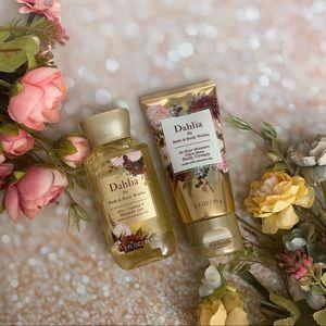 Bath and body work bbw dahlia bodycream shower gel